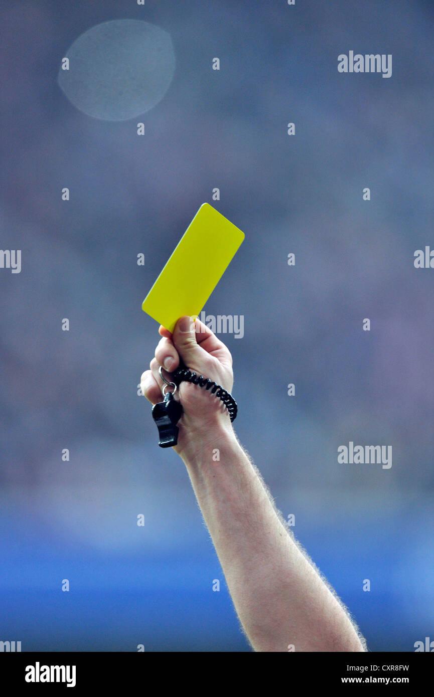 Yellow card, penalty, Allianz Arena stadium, Munich, Bavaria, Germany, Europe - Stock Image