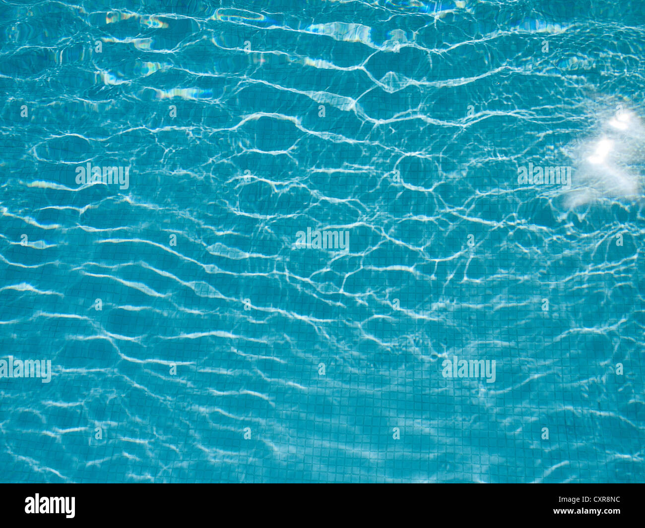 LIGHT REFLECTING ON RIPPLES AND ON WATER IN SWIMMING POOL. Stock Photo