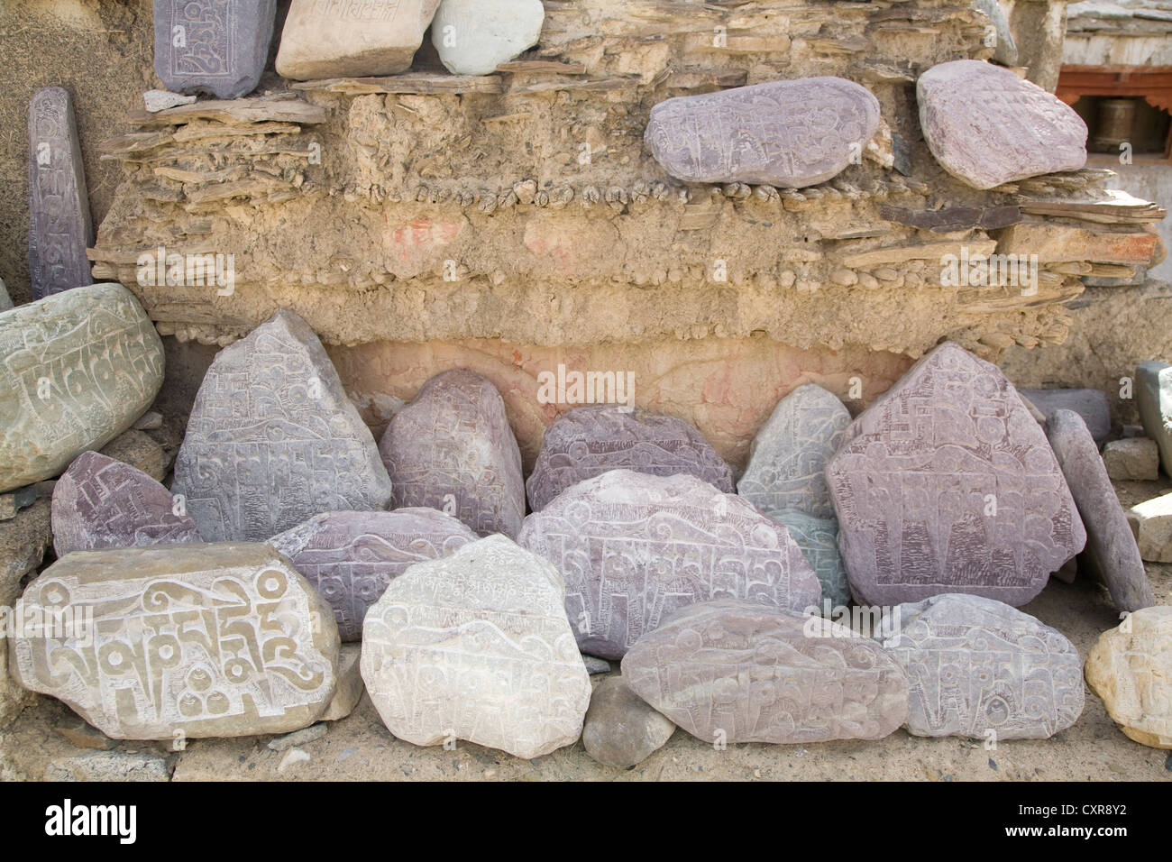Mani prayer stones in the Indian Himalaya. - Stock Image