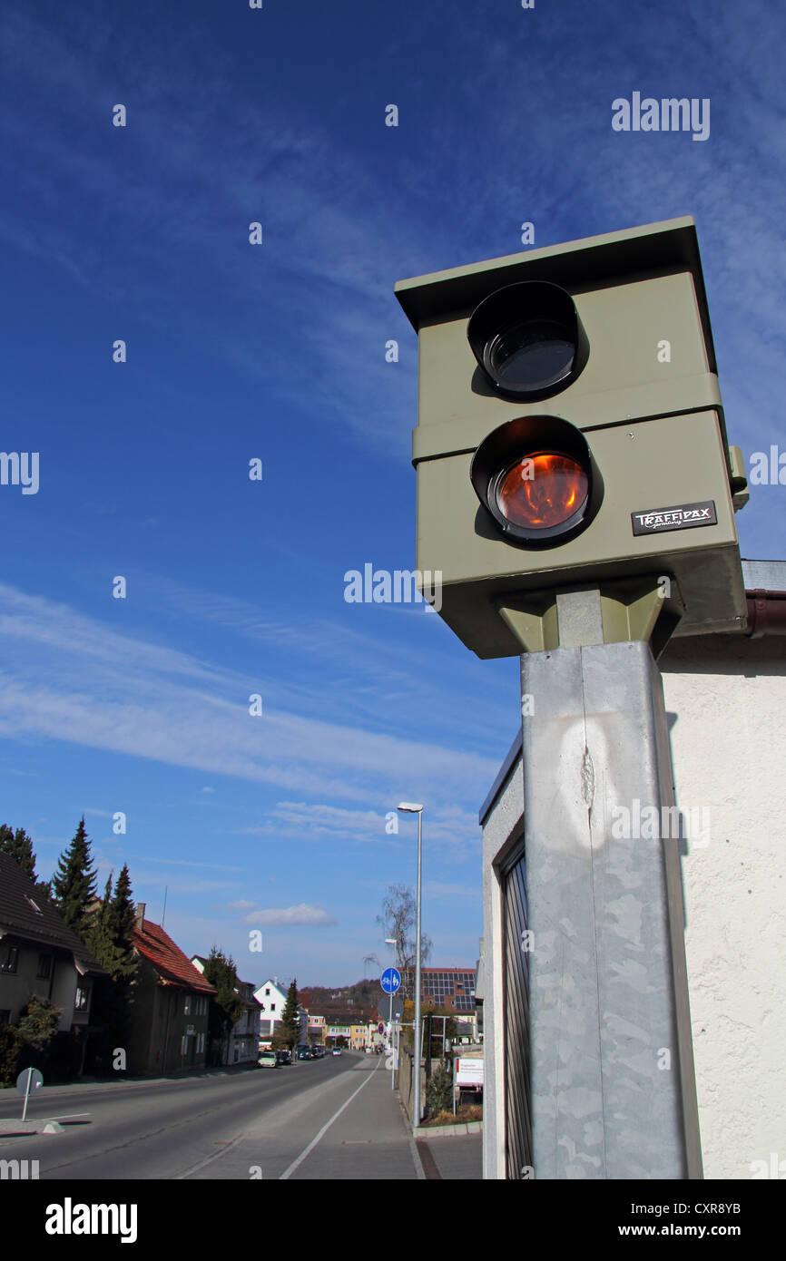 Stationary speed camera, Trafipax, surveillance, flash system, urban
