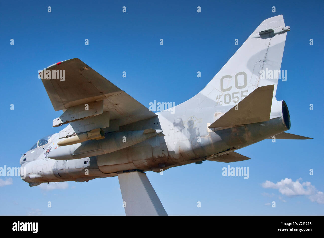 A-7D Corsair II light attack aircraft on display at Regional Airport in Montrose, Colorado - Stock Image