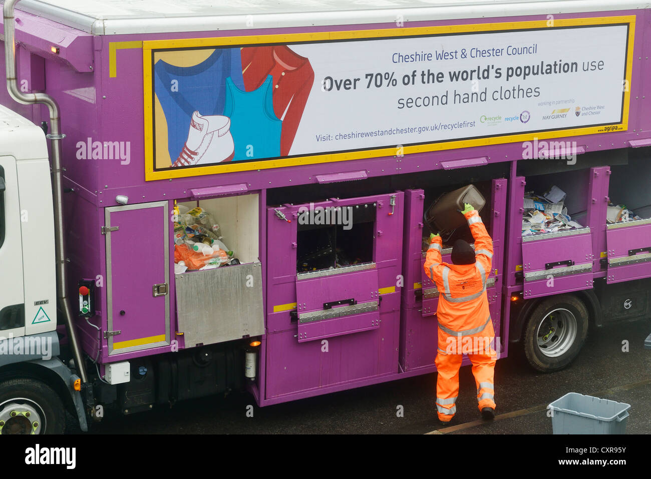 Kerbside collection and sorting of household rubbish in Cheshire with manual sorting for paper, plastic, cans and Stock Photo
