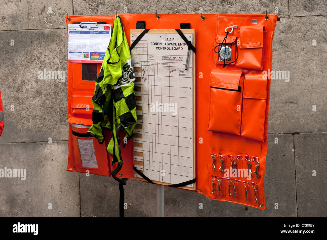 USAR Confined Space Entry Control Board Fire & Rescue - Stock Image