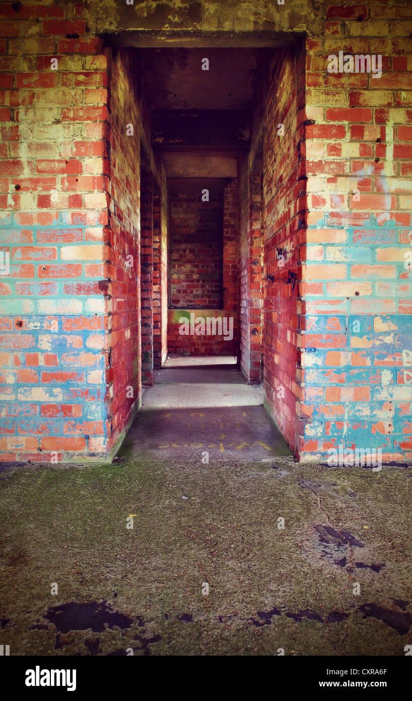 brick corridor - Stock Image