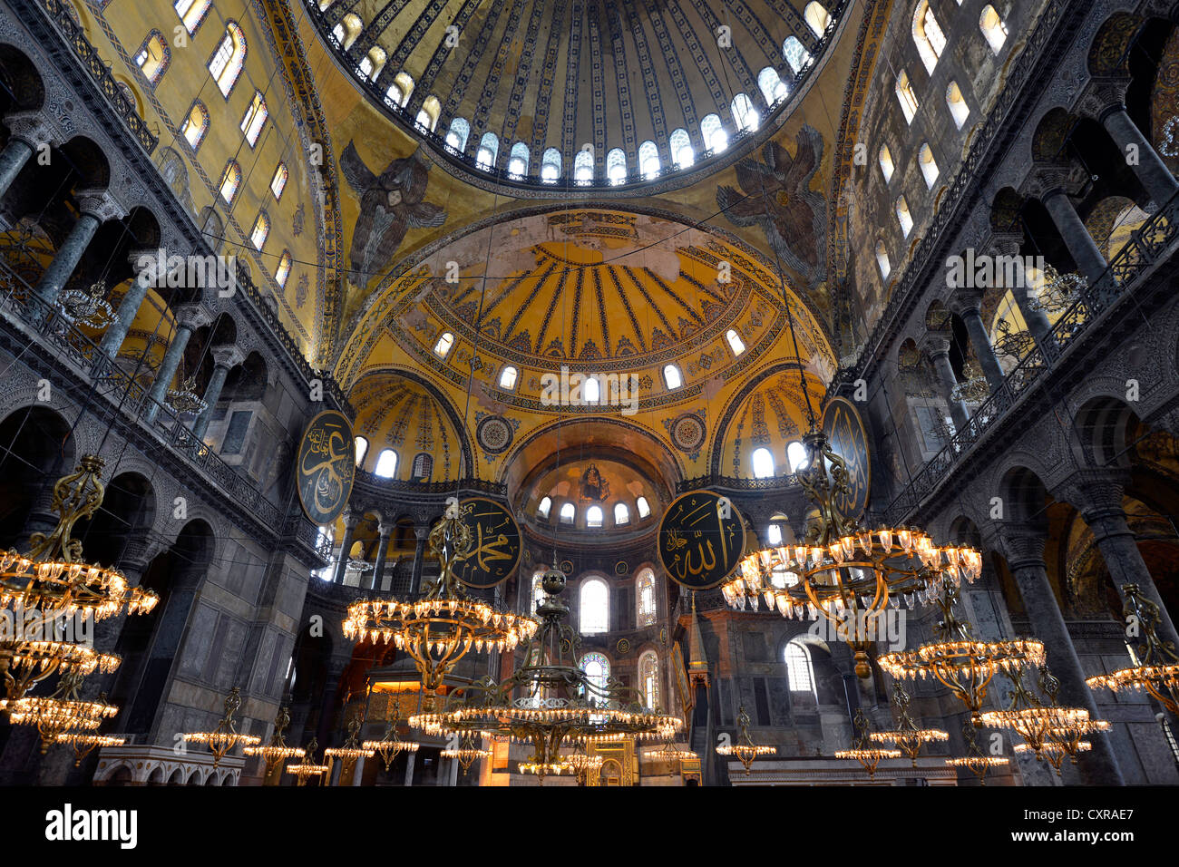 Interior view, main room, dome, Hagia Sophia, Ayasofya, UNESCO World Heritage Site, Istanbul, Turkey, Europe Stock Photo