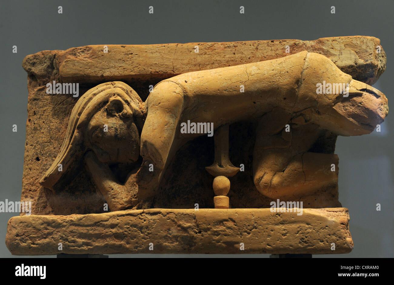 Greek Art. Altar with greek myths. The suicide of Ajax by throwing himself on his sword. Ny Carlsberg Glyptotek. - Stock Image