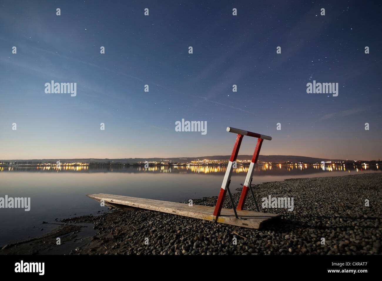 Life-saving equipment for ice rescues at the shore of Lake Constance, in the moonlight, near Hegne, Baden-Wuerttemberg - Stock Image
