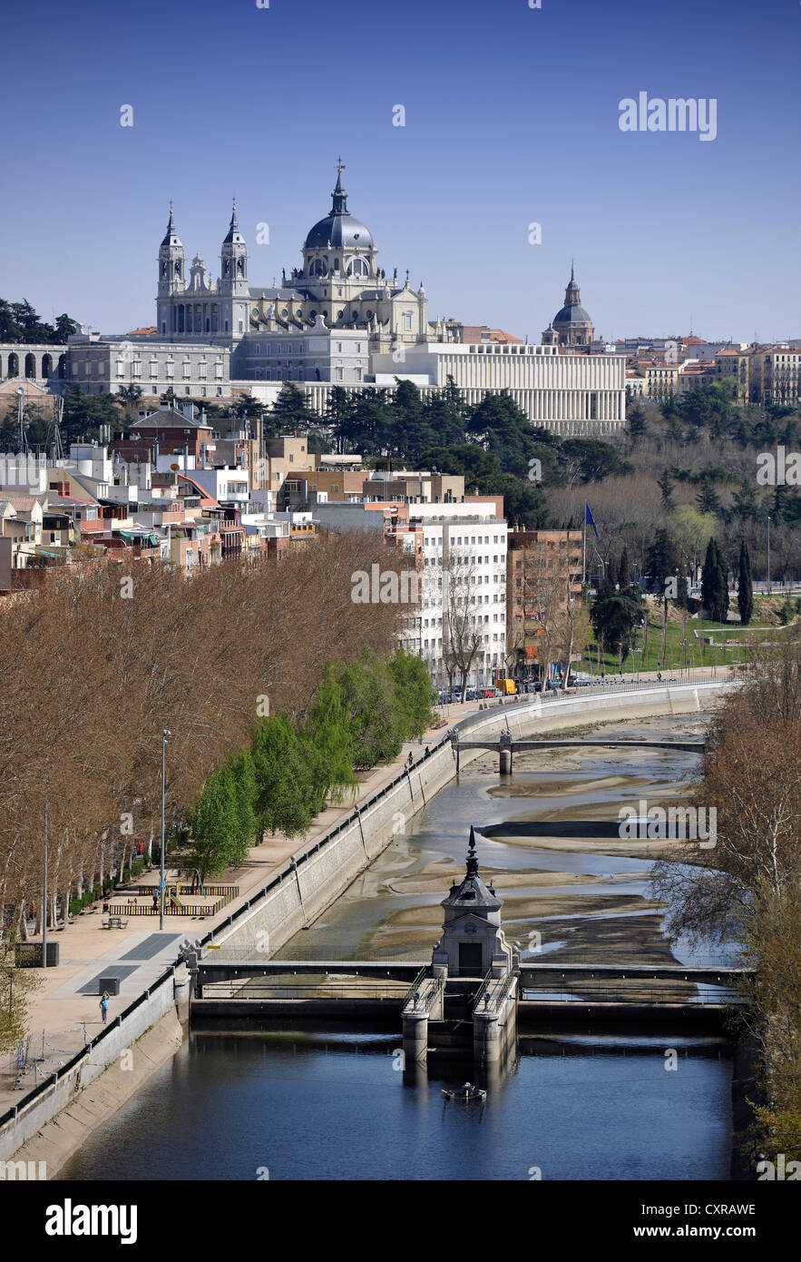 View from the cable car, teleferico, over the Manzanares River to the Catedral de Nuestra Señora de la Almudena, Stock Photo