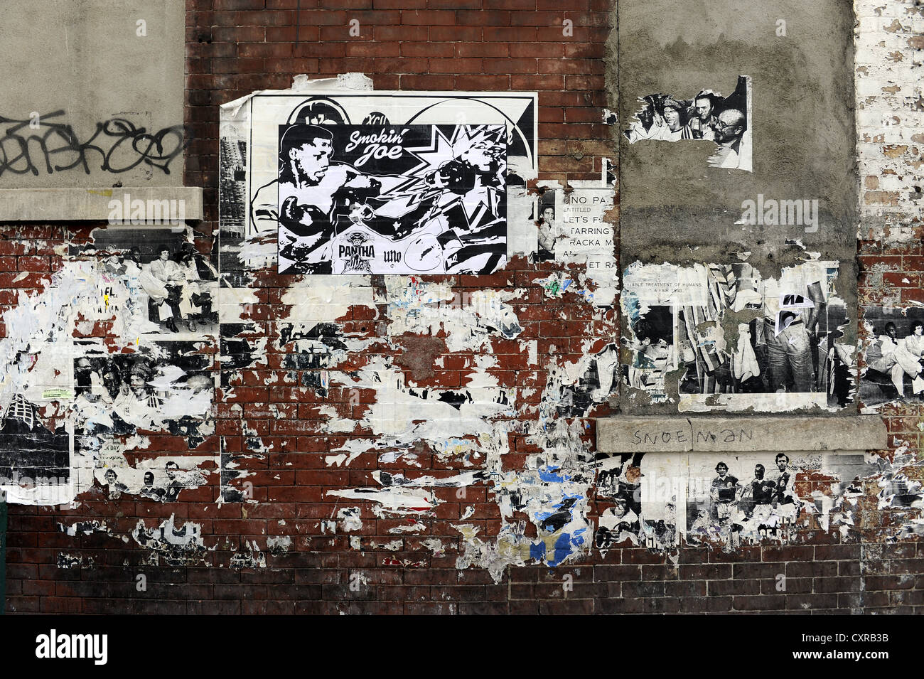 Wall with billboards in Harlem, Manhattan, New York City, New York, USA, North America - Stock Image