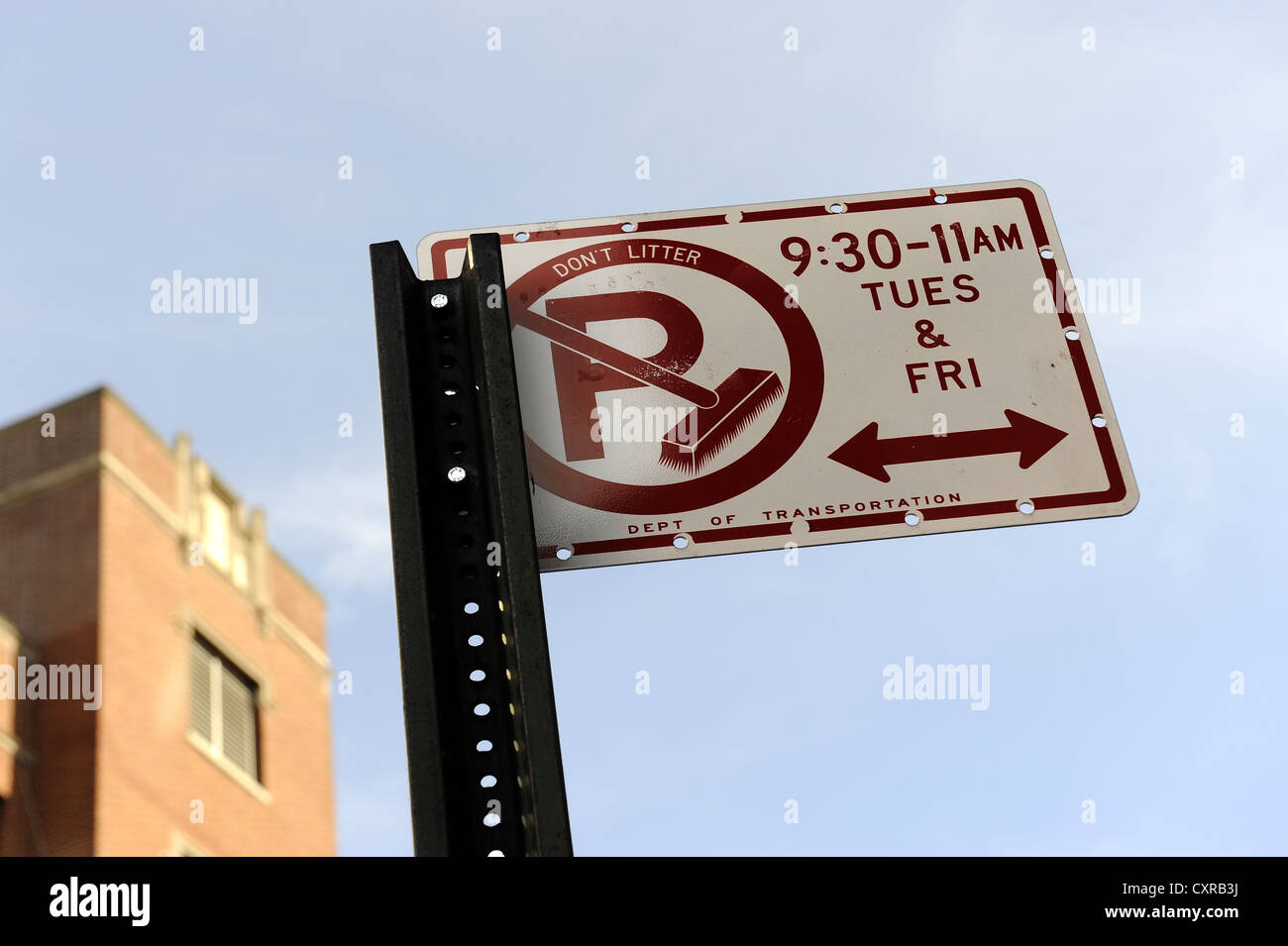 No parking sign, Harlem, Manhattan, New York City, New York, USA, North America - Stock Image