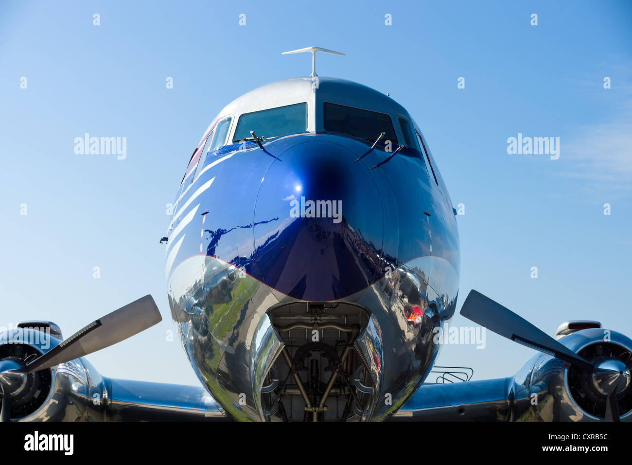 The Douglas DC-6B is a piston-powered airliner - Stock Image