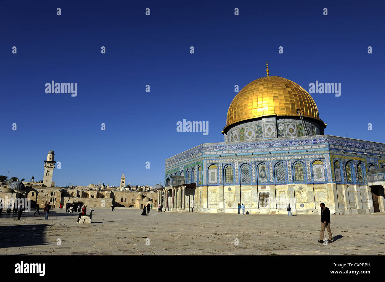 Minarett of the Al-Aqsa Mosque and the Dome of the Rock, Temple Mount, Old City, Jerusalem, Israel, Middle East, - Stock Image