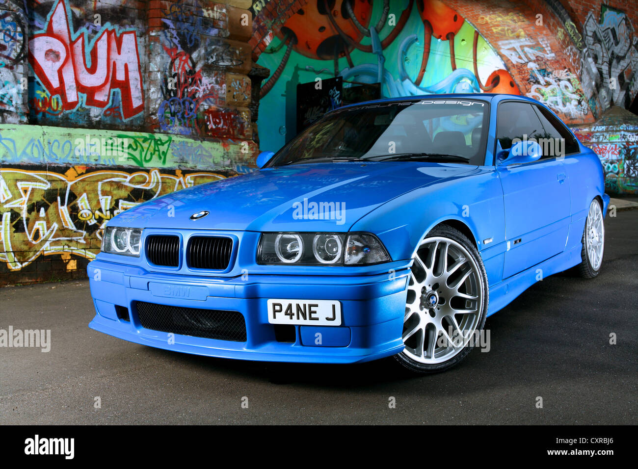Bmw M3 Parked In Front Of Graffiti Wall Stock Photo Alamy
