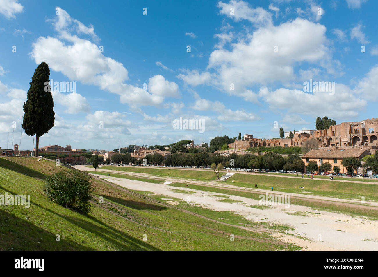 View across the unbuilt area of Circus Maximus on the Palatine Hill, Circo Massimo, Palatino, ancient Rome, Rome, - Stock Image