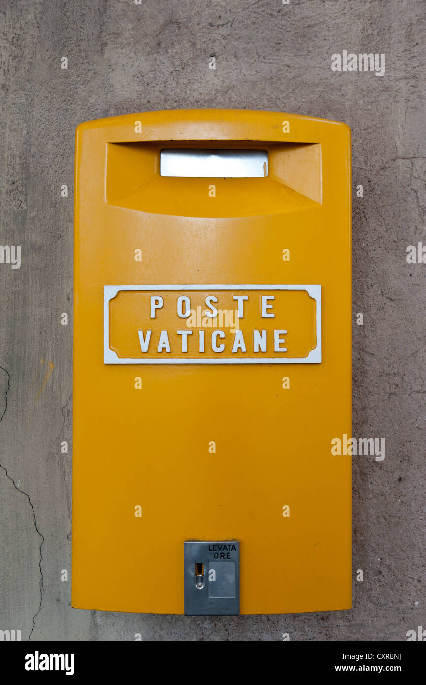 Yellow mailbox of the Vatican post office, Poste Vaticane, Vaticano, Vatican, Vatican City, Rome, Lazio, Italy, - Stock Image