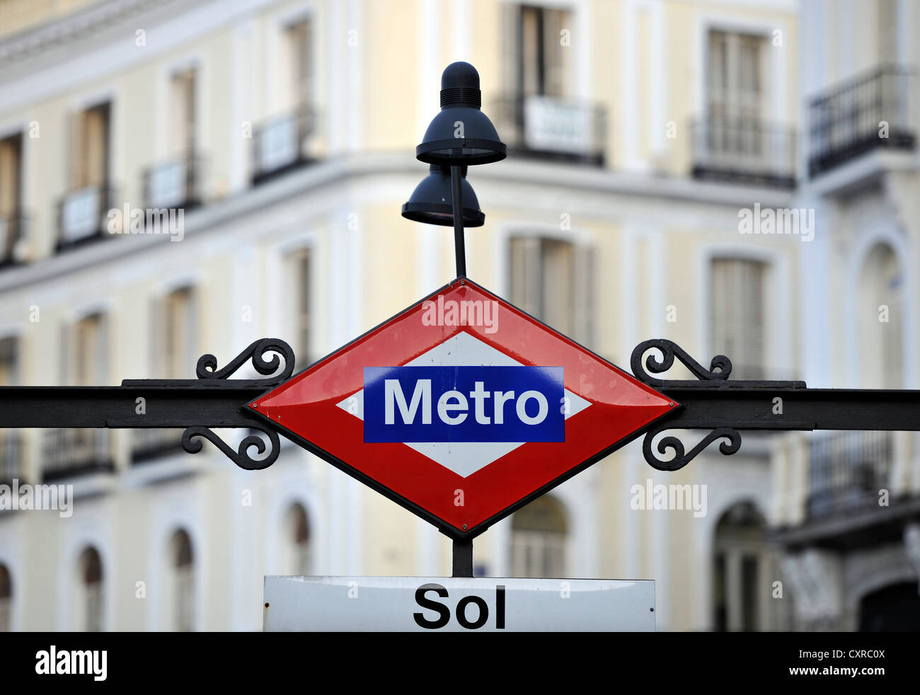Sol metro station in front of the Presidencia de la Comunidad de Madrid building, Antigua Casa de Correos building, - Stock Image