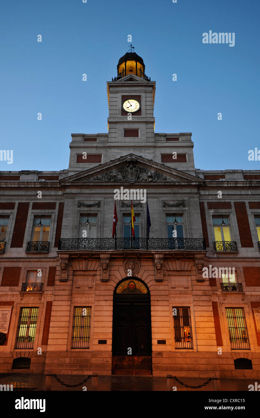 Presidencia de la Comunidad de Madrid building at dawn, Antigua Casa de Correos building, presidium of the Autonomous - Stock Image