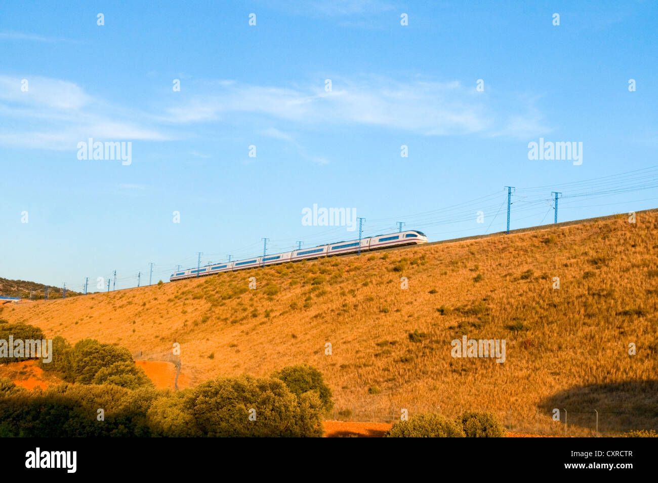 Madrid-Barcelona high-speed train traveling. Soria province, Castilla Leon, Spain. - Stock Image