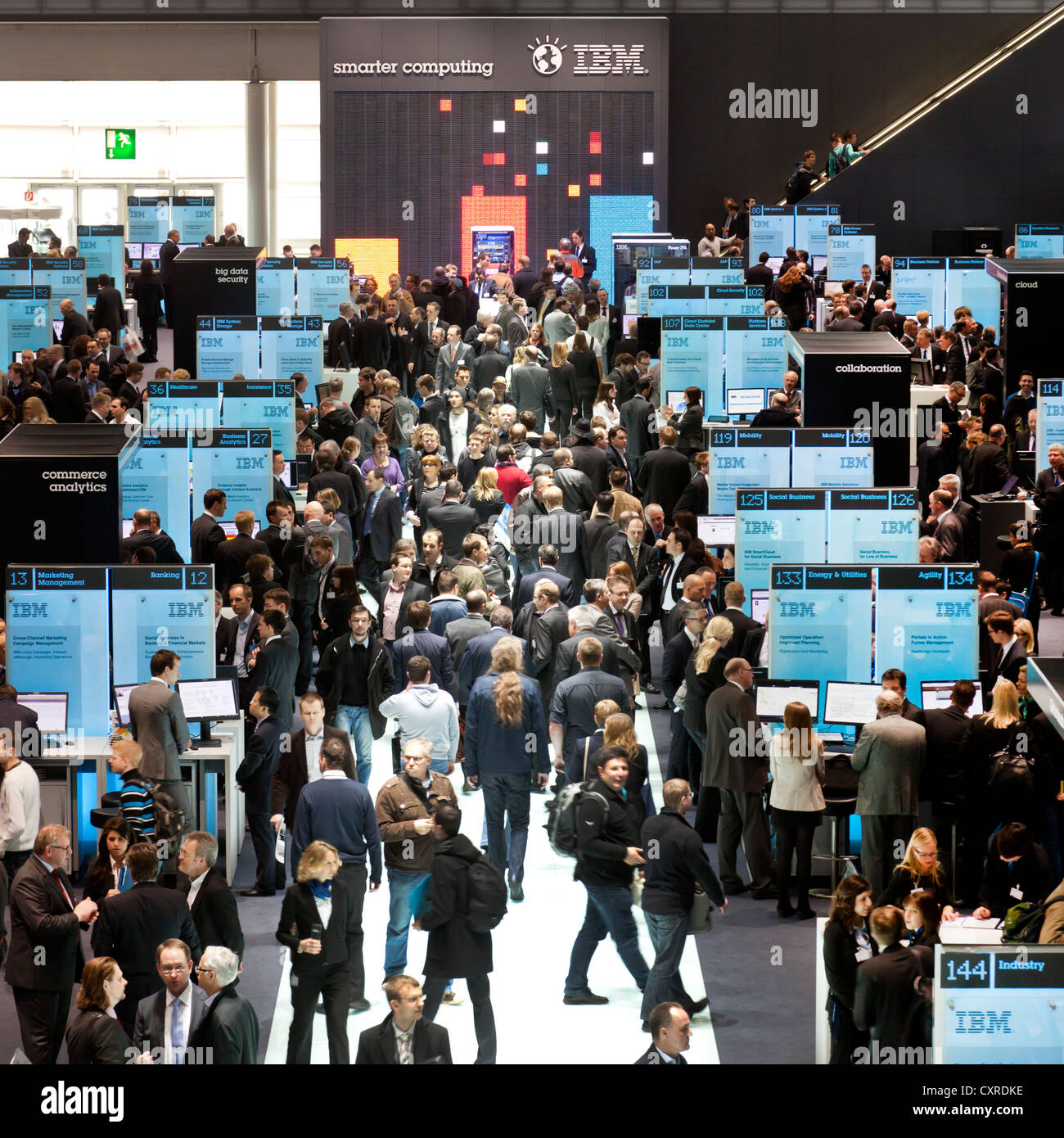 Exhibition stand of IBM, a technology and consulting corporation, CeBIT international computer expo, Hannover, Lower - Stock Image