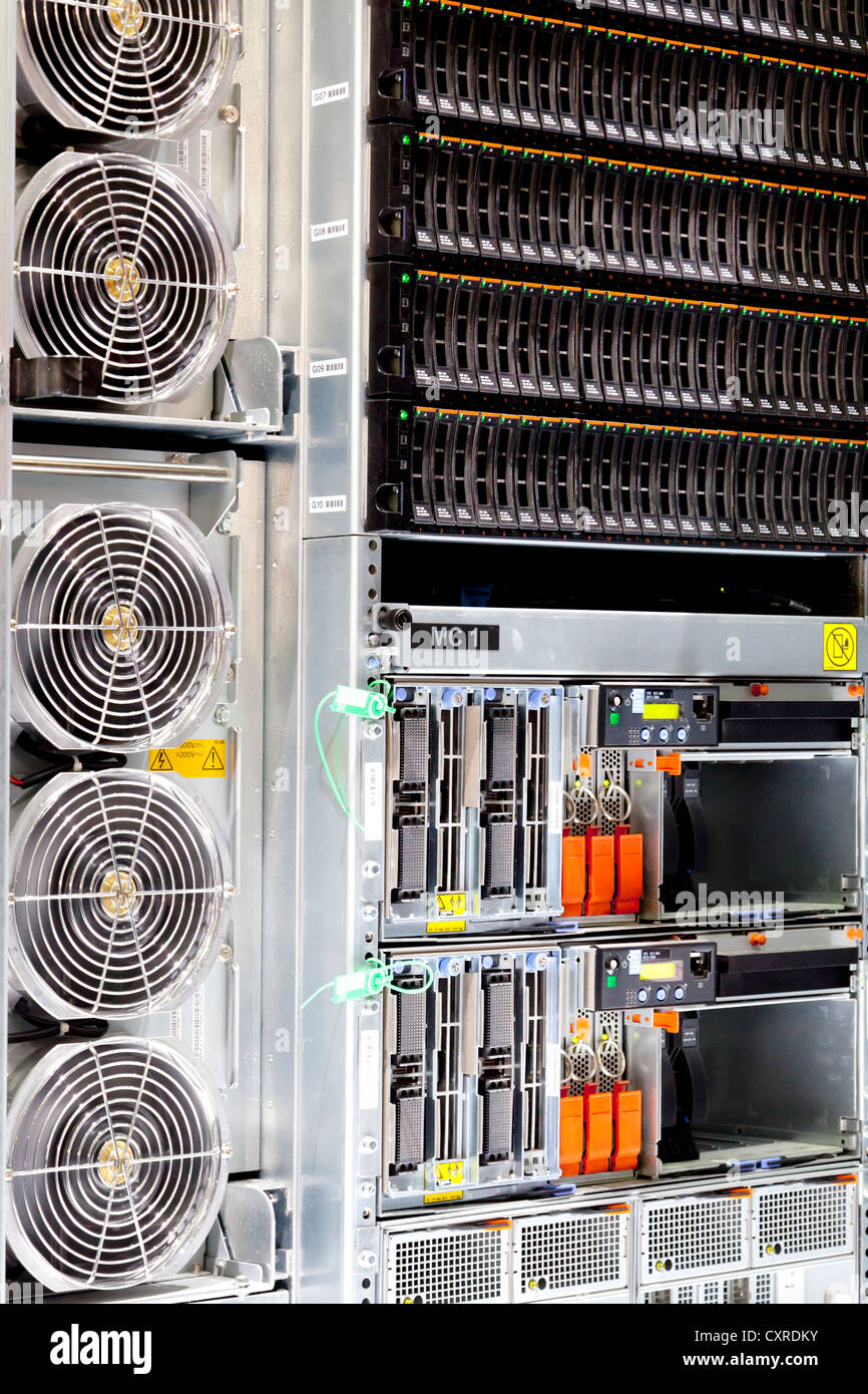 Server, data archive, Bladeserver, with fans, produced by IBM, a technology and consulting corporation, CeBIT international - Stock Image