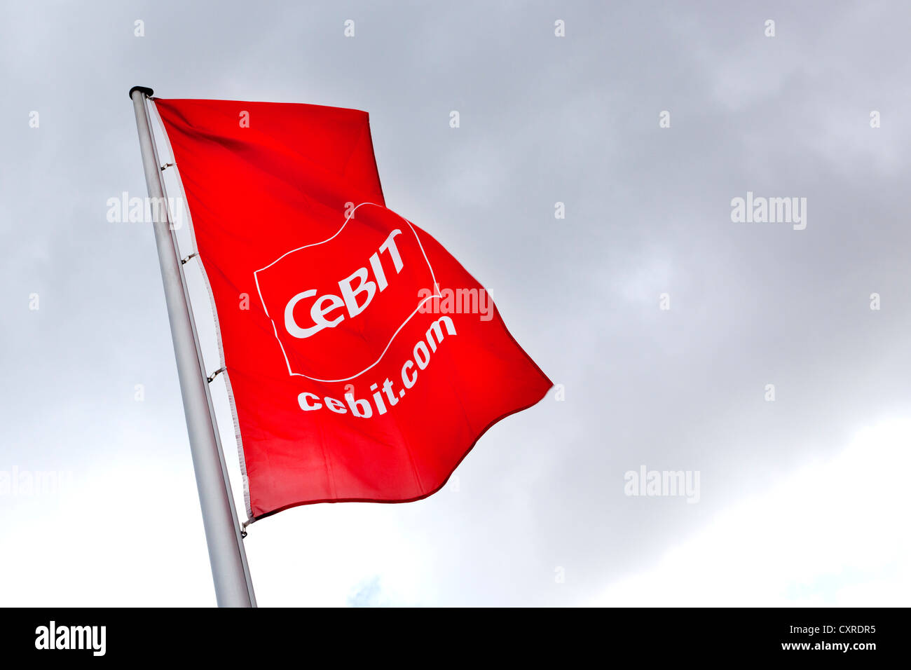 Flag with the CeBIT logo, international computer expo, Hannover, Lower Saxony, Germany, Europe - Stock Image