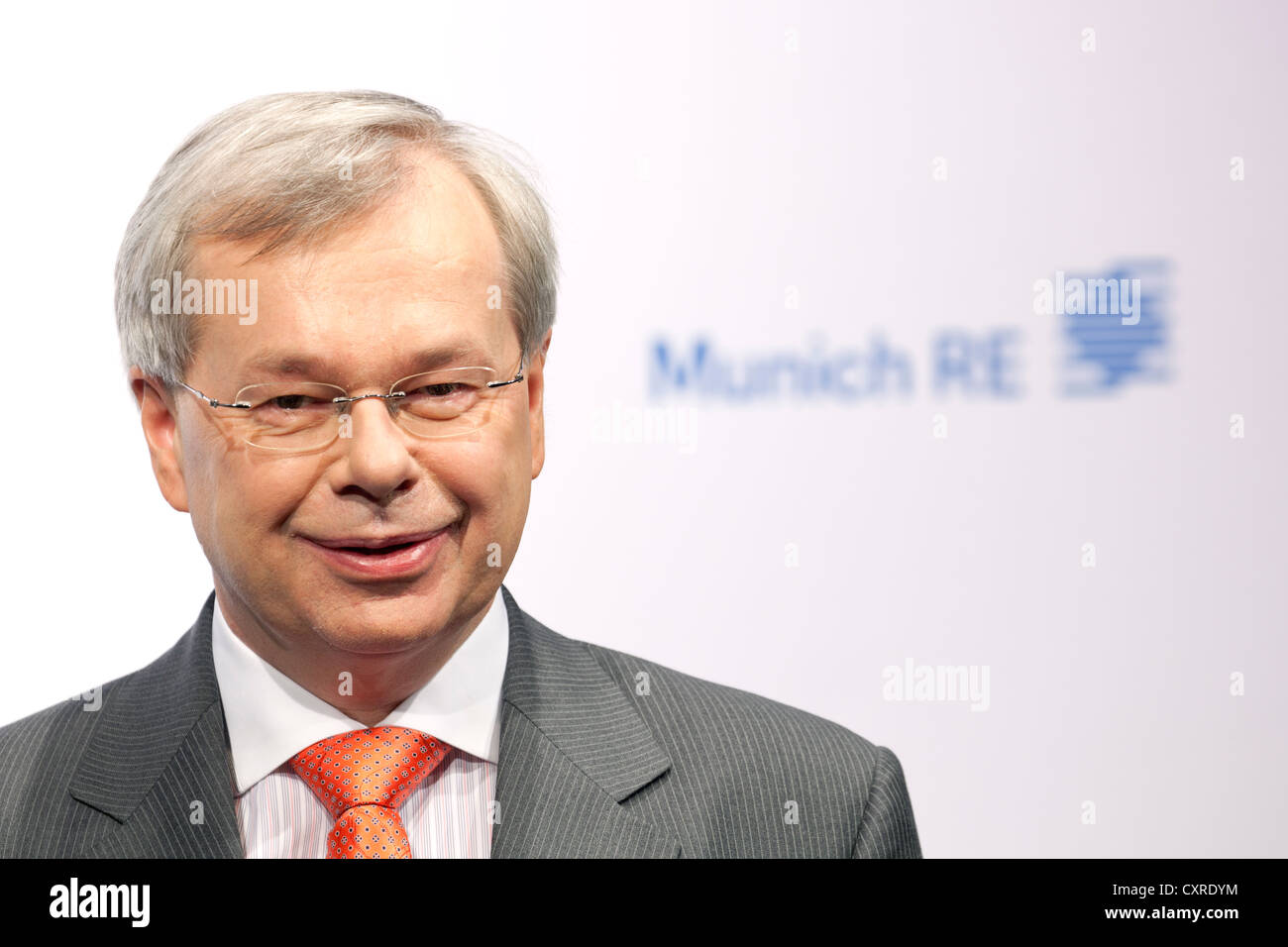 Torsten Jeworrek, board member of the Munich Re insurance company, during the press conference on financial statements - Stock Image