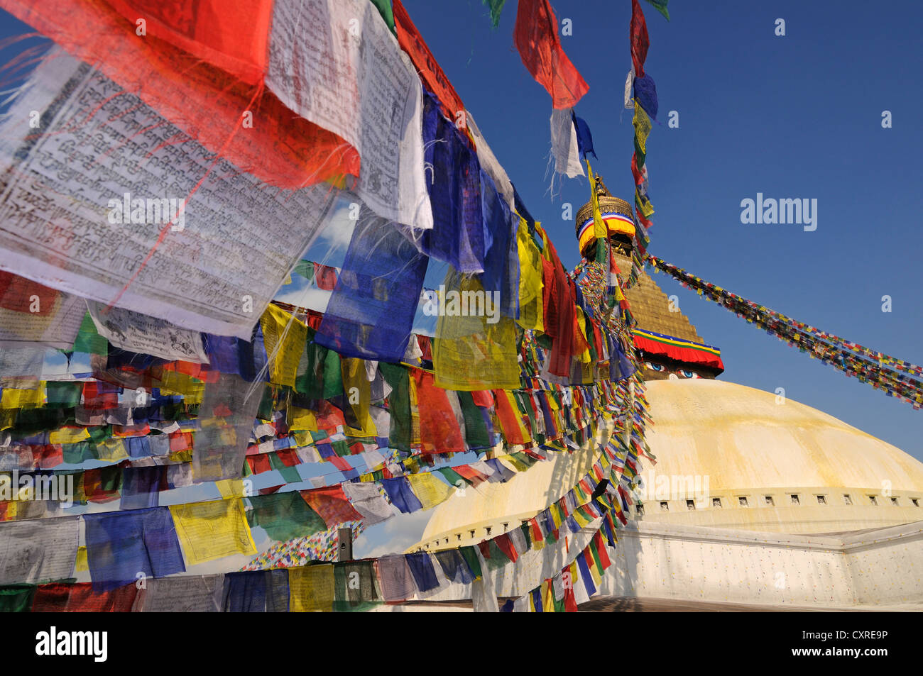 Prayer flags on the Bodnath Stupa, Kathmandu, Kathmandu Valley, Nepal, Asia - Stock Image