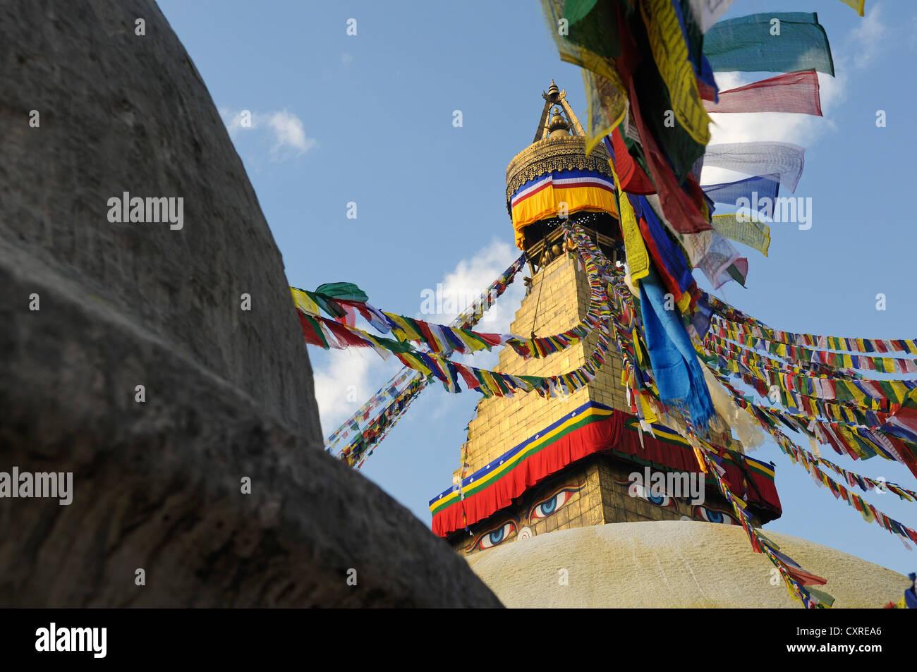 Bodnath stupa with prayer flags, Kathmandu, Kathmandu Valley, Nepal, Asia - Stock Image