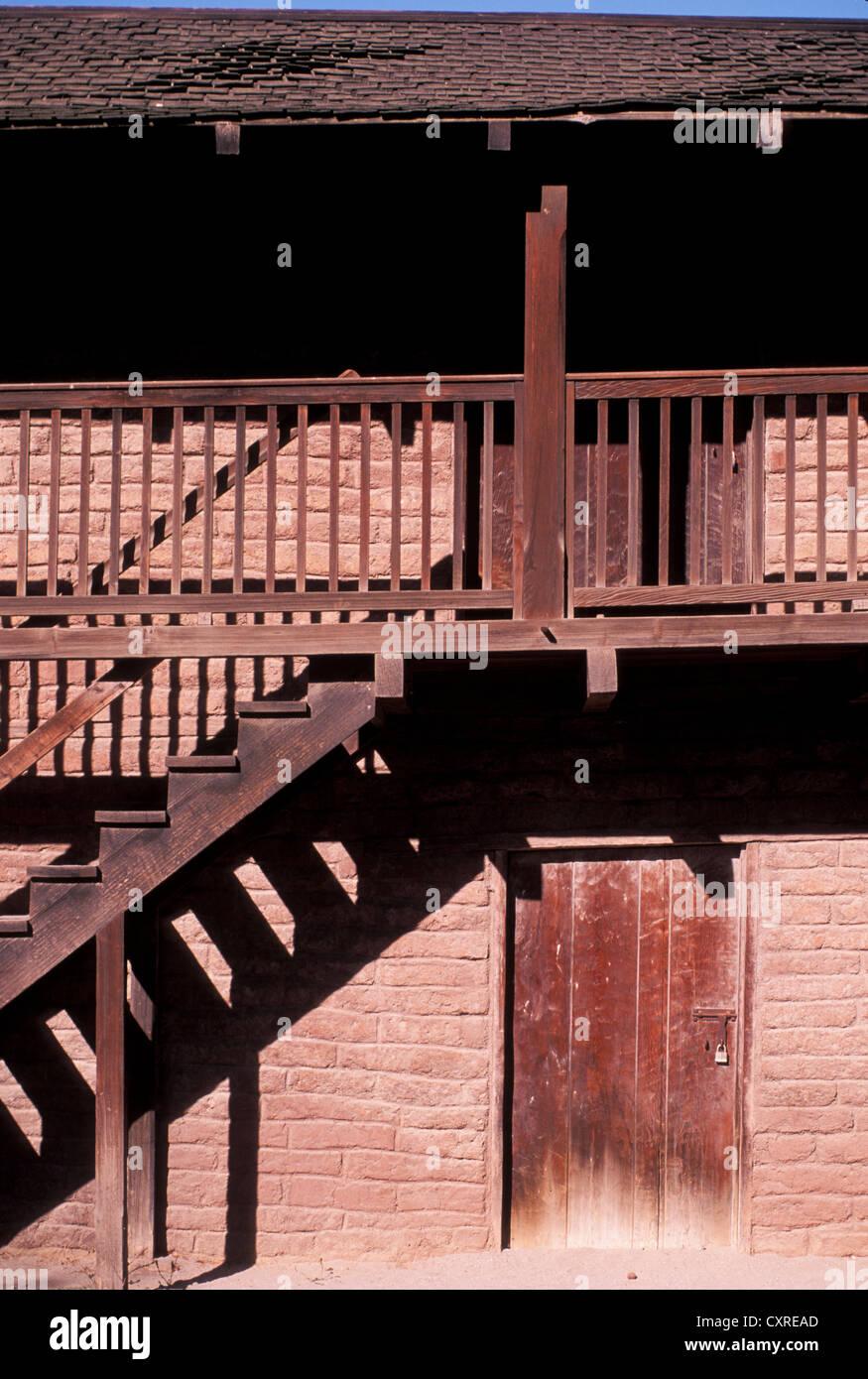 El Presidio, barracks for Mexican troops under General Vallejo built 1830s now Sonoma State Historic Plaza Sonoma - Stock Image