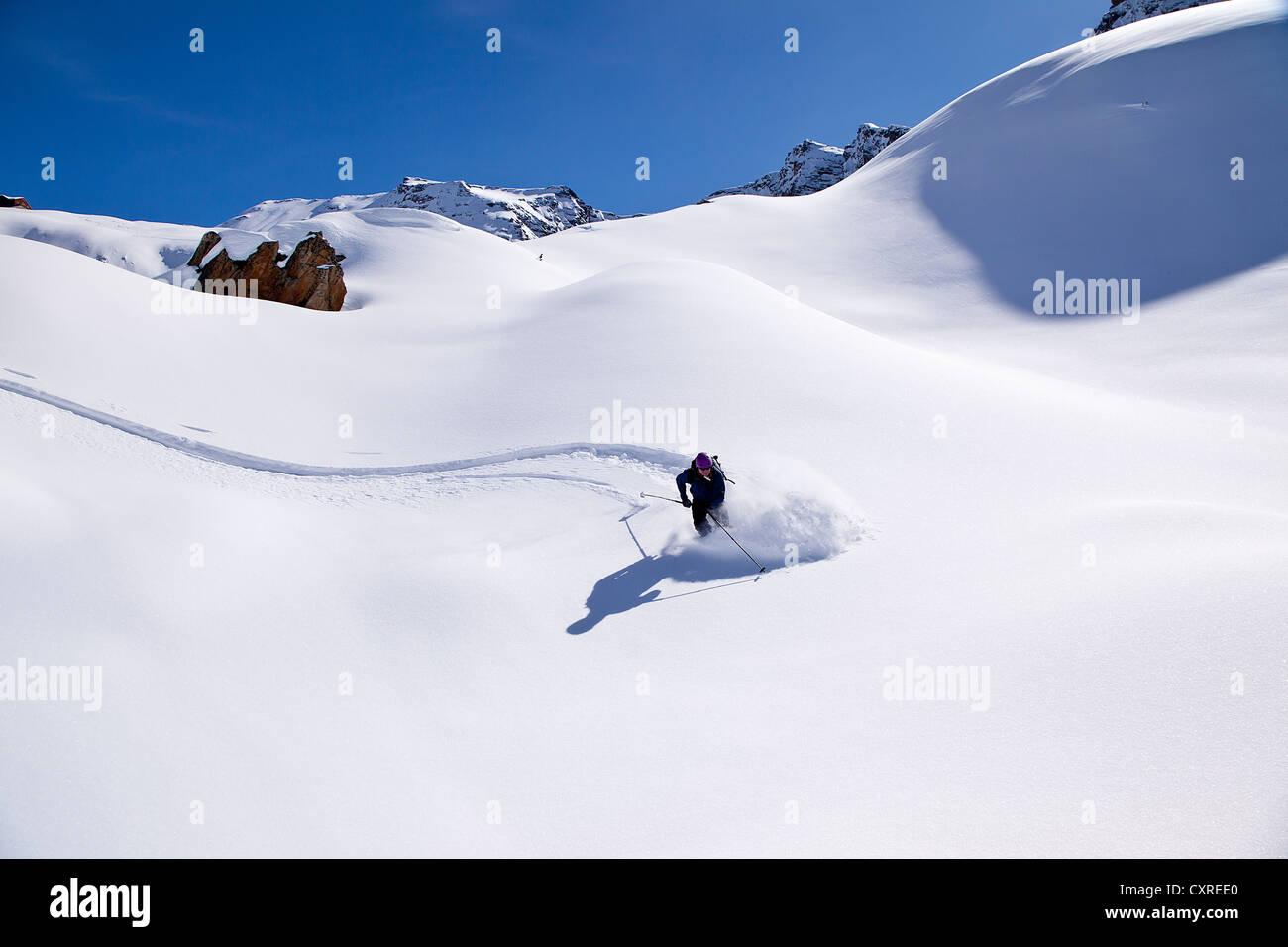 Skier downhill skiing in deep powder snow, Ahornspitze mountain, Zillertal Alps, Zillertal valley, northern Tyrol, - Stock Image