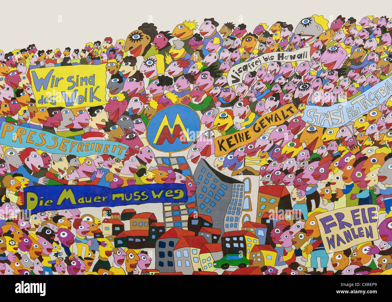 Wall painting on the Marriott Hotel, modern art, memories of the peaceful revolution in 1989, Leipzig, Saxony, Germany, - Stock Image