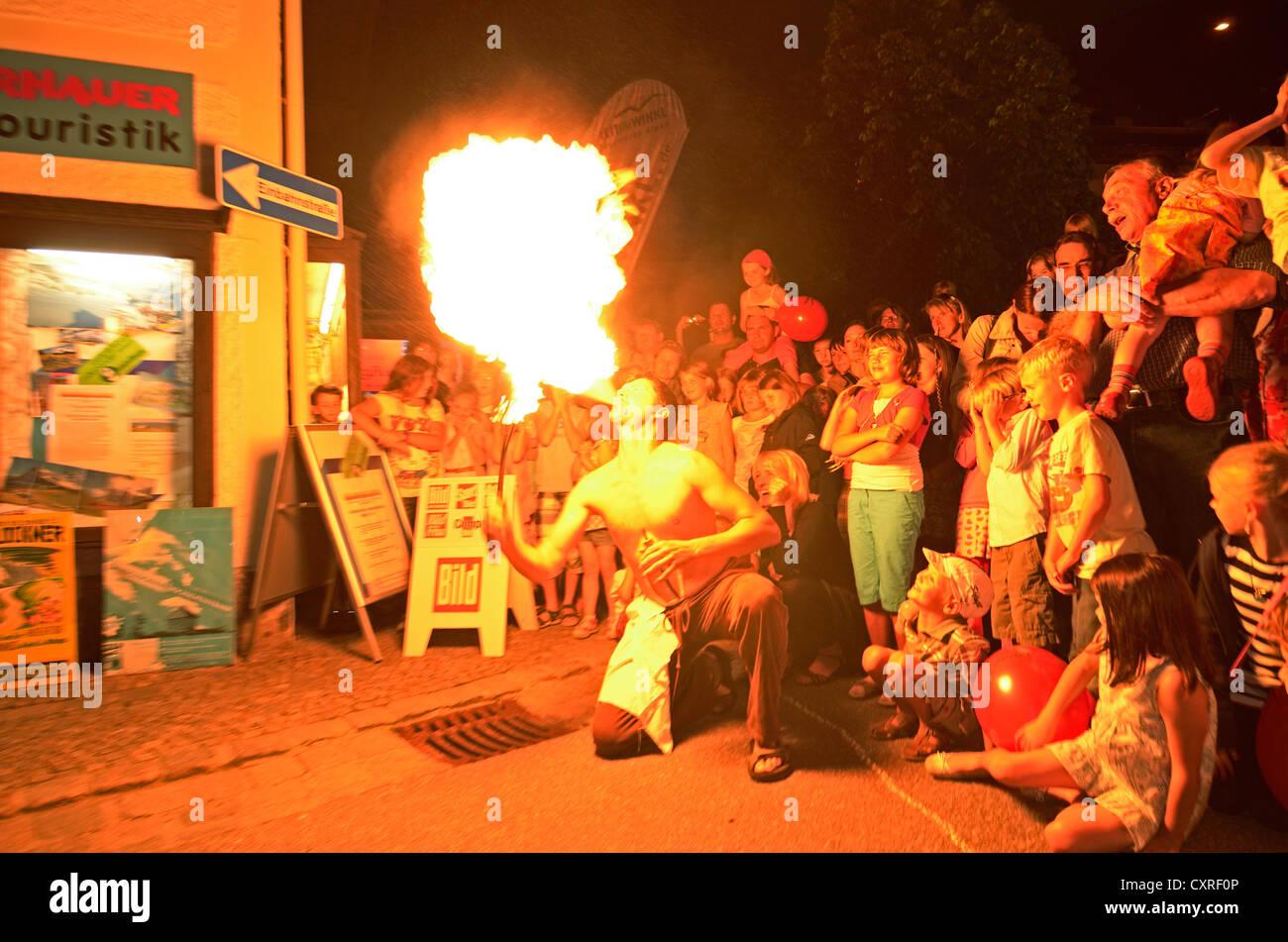 Fire-eater, street festival, Reit im Winkl, Chiemgau, Upper Bavaria, Bavaria, Germany, Europe - Stock Image