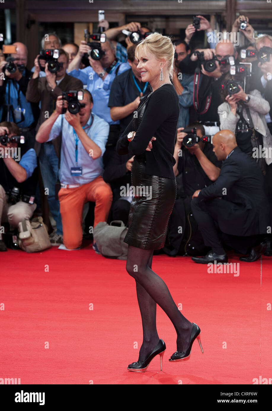 Actress Melanie Griffith on the red carpet at the Filmfest in Munich, Bavaria, Germany, Europe - Stock Image