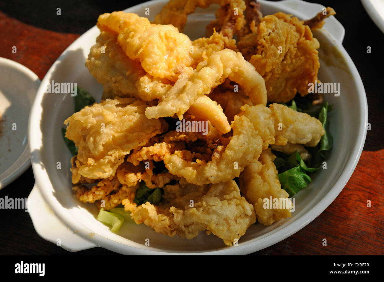 Deep-fried squid, Tai O Fishing Village, Lantau Island, Hong Kong, China, Asia - Stock Image