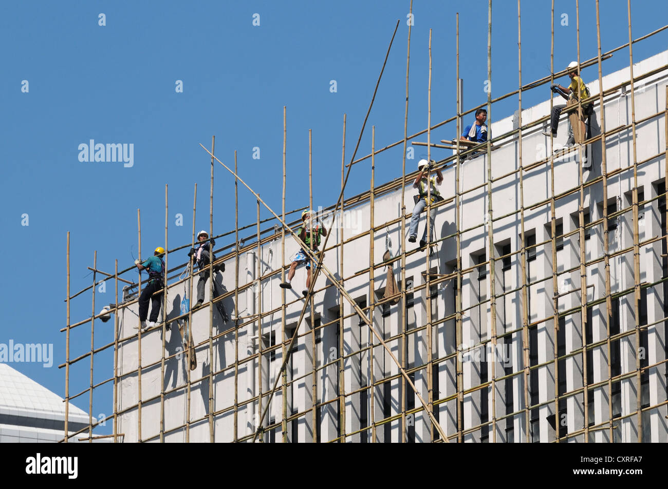 Scaffolding consisting of bamboo, Hong Kong Island, China, Asia - Stock Image