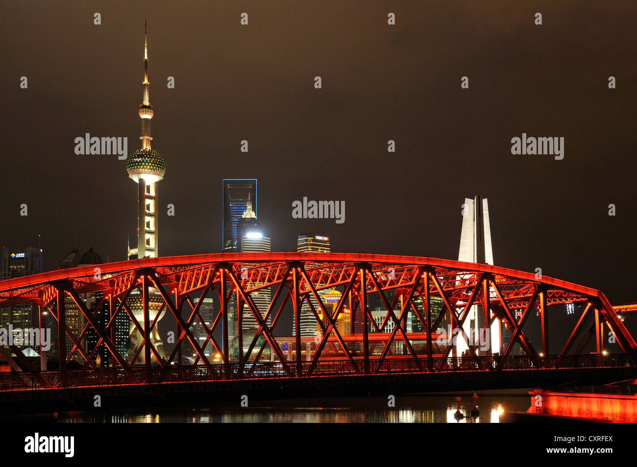 Waibaidu Bridge, Oriental Pearl Tower, skyline on the Bund promenade, Huangpu River, Shanghai, China, Asia Stock Photo