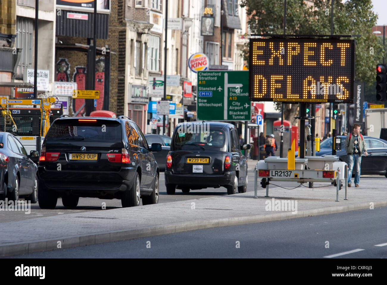 Road works, expect delays sign in congested Central london UK - Stock Image
