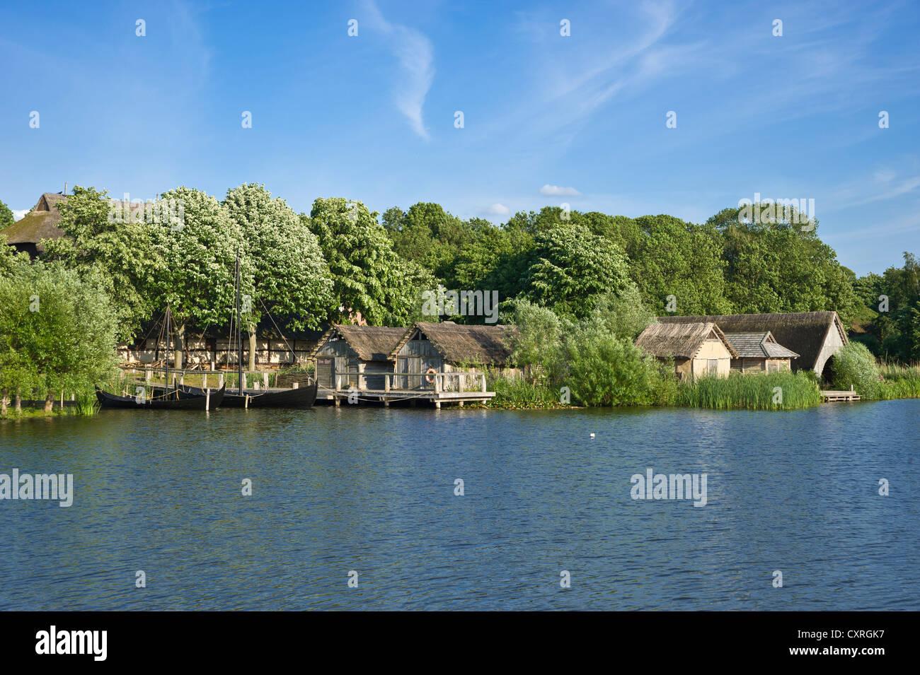 Wallmuseum, Slavic village and lake Wallsee, Oldenburg in Holstein, Baltic Sea, Schleswig-Holstein, Germany, Europe - Stock Image