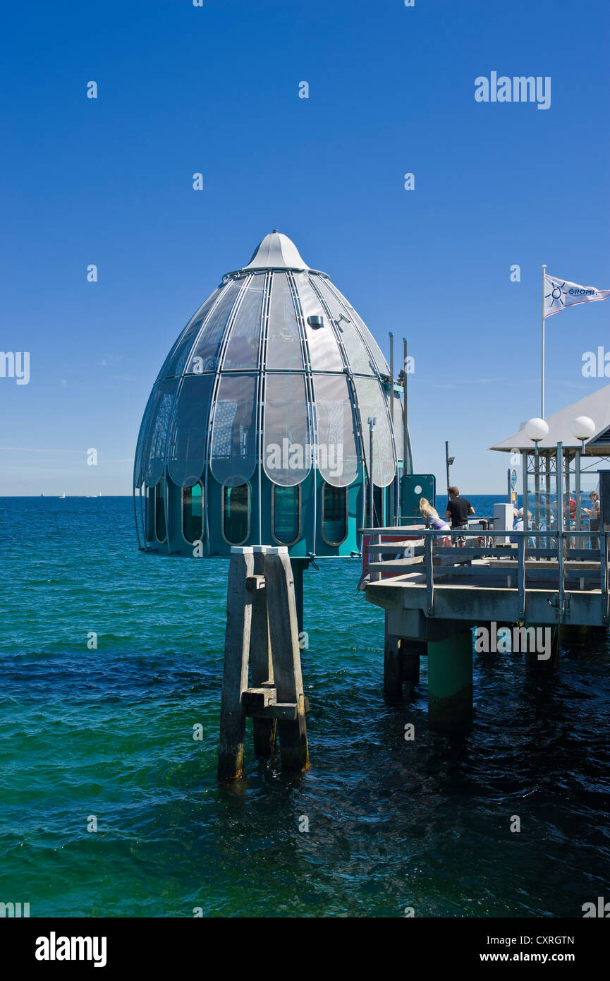 Pier with a diving gondola, Groemitz, Baltic Sea, Schleswig-Holstein, Germany, Europe Stock Photo