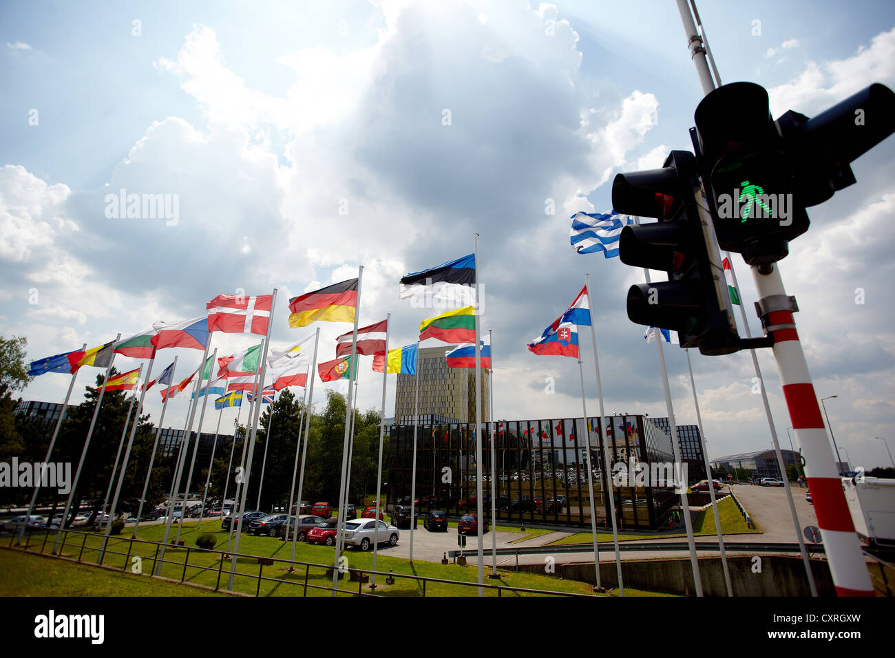 Green traffic lights in front of the national flags of the member states of the European Union, building of the - Stock Image