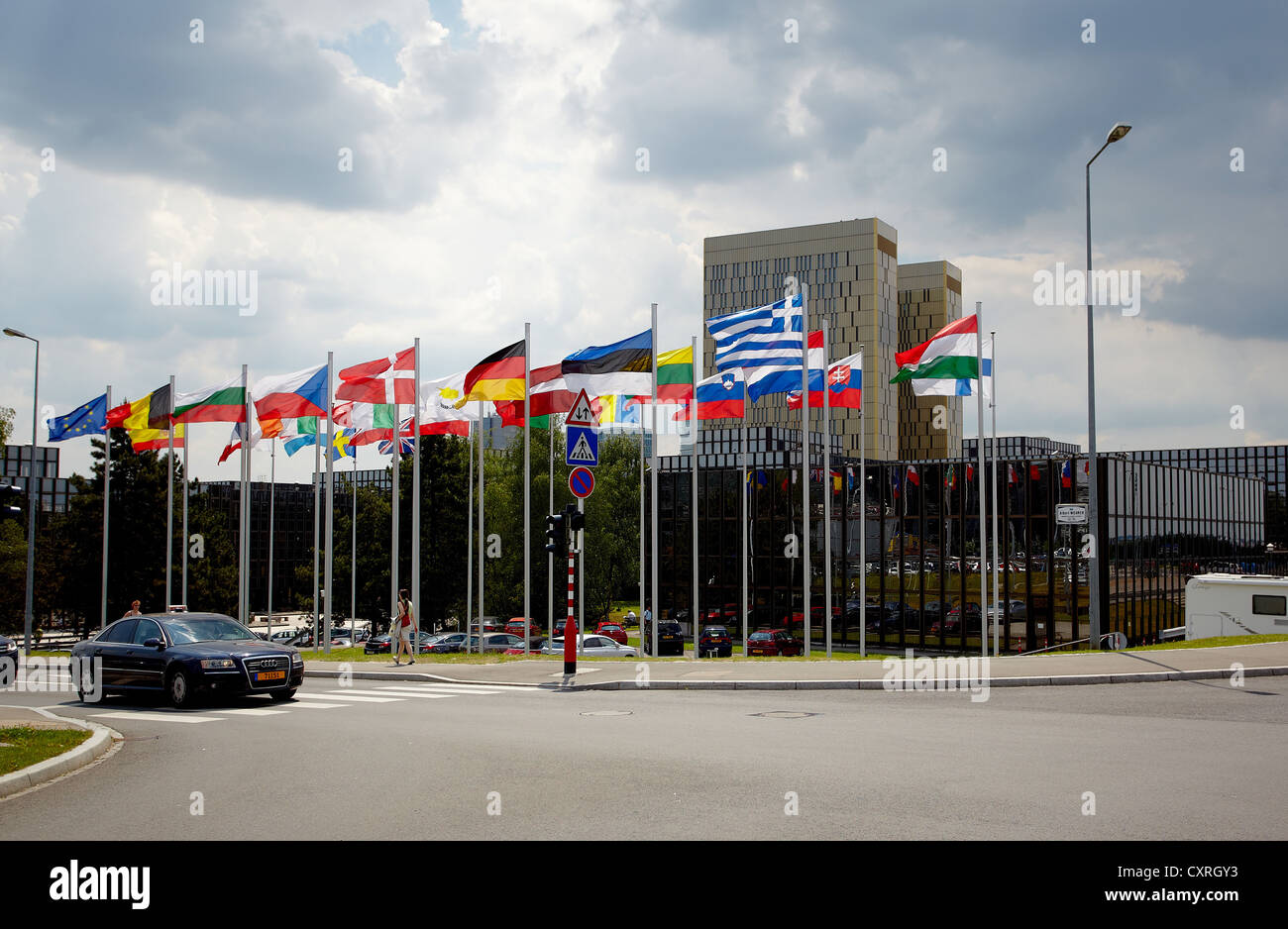 Flags of the member states of the European Union in front of the building of the European Commission in Luxembourg, - Stock Image