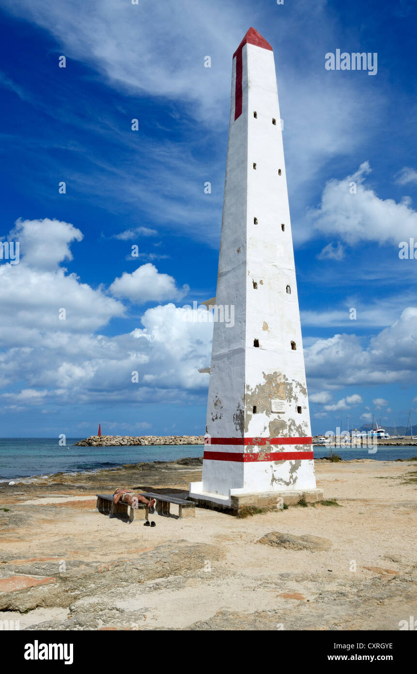 Reference point, tower, C'an Picanfort, Majorca, Mallorca, Balearic Islands, Spain, Europe - Stock Image