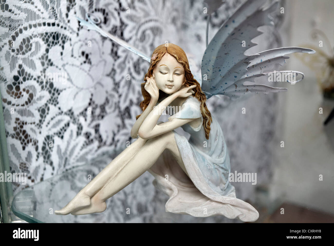 Figure of a small elf with wings in a shop window, kitsch, Casamicciola Terme, Ischia Island, Gulf of Naples, Campania - Stock Image