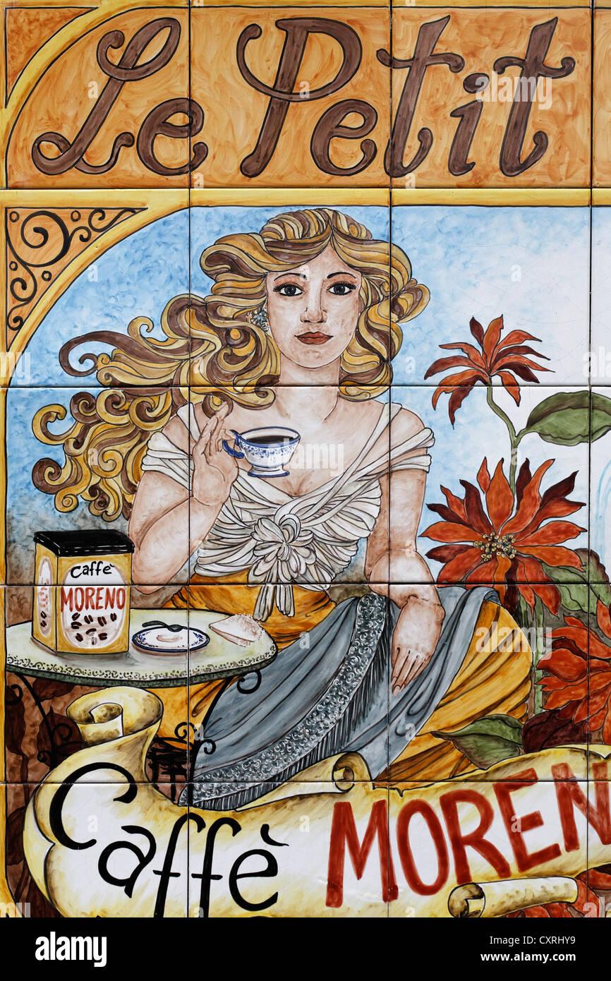 Historical advert of the Neapolitan coffee brand 'Caffé Morena' on ceramic tiles, Lacco Ameno, Ischia - Stock Image