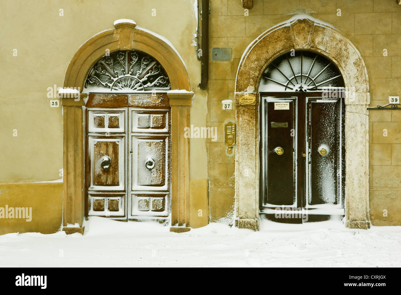 Snow-covered front doors in Pienza Tuscany Italy Europe - Stock Image & Front Exterior Entry Tuscan Stock Photos u0026 Front Exterior Entry ...