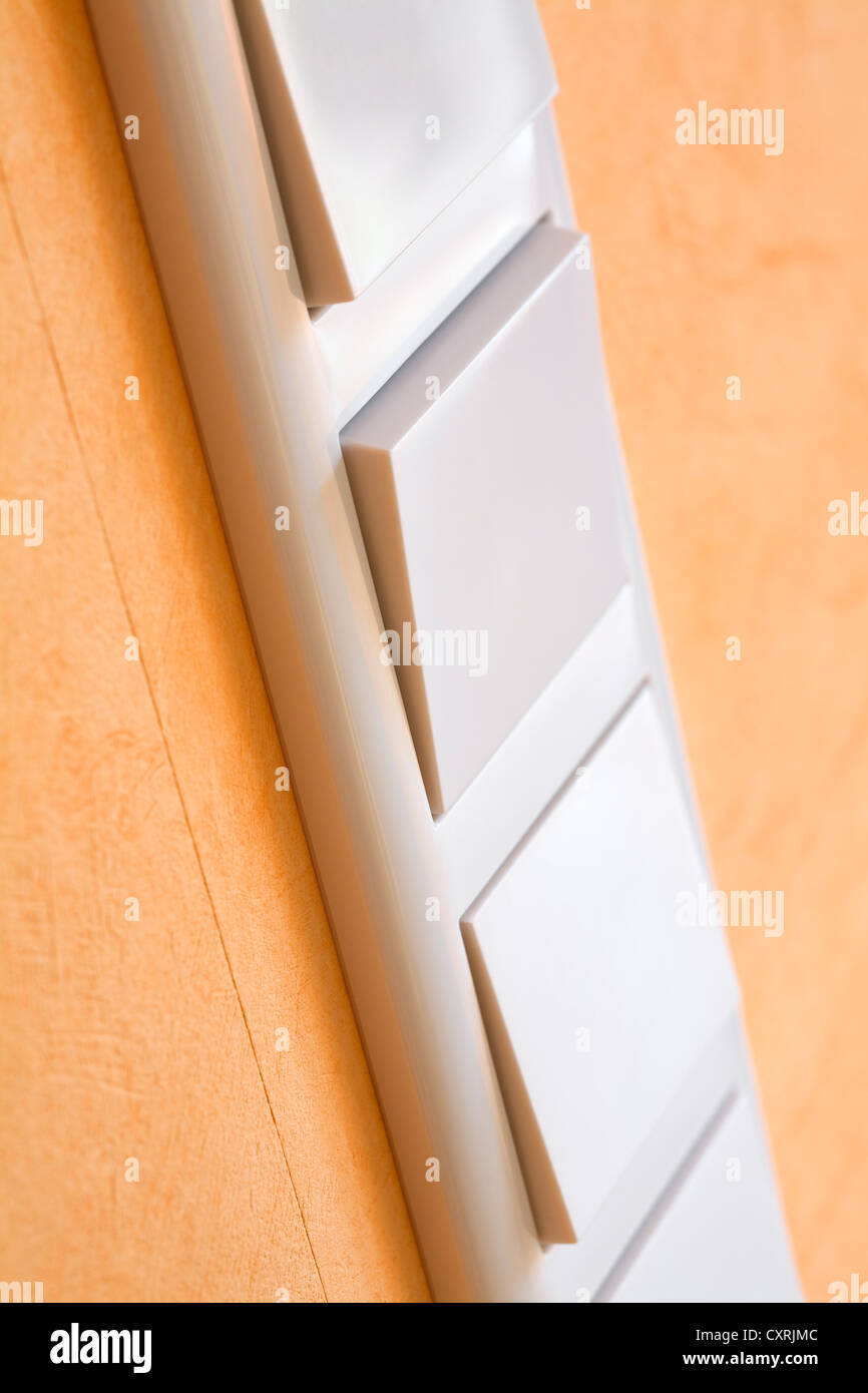 Close up of modern light switch - Stock Image