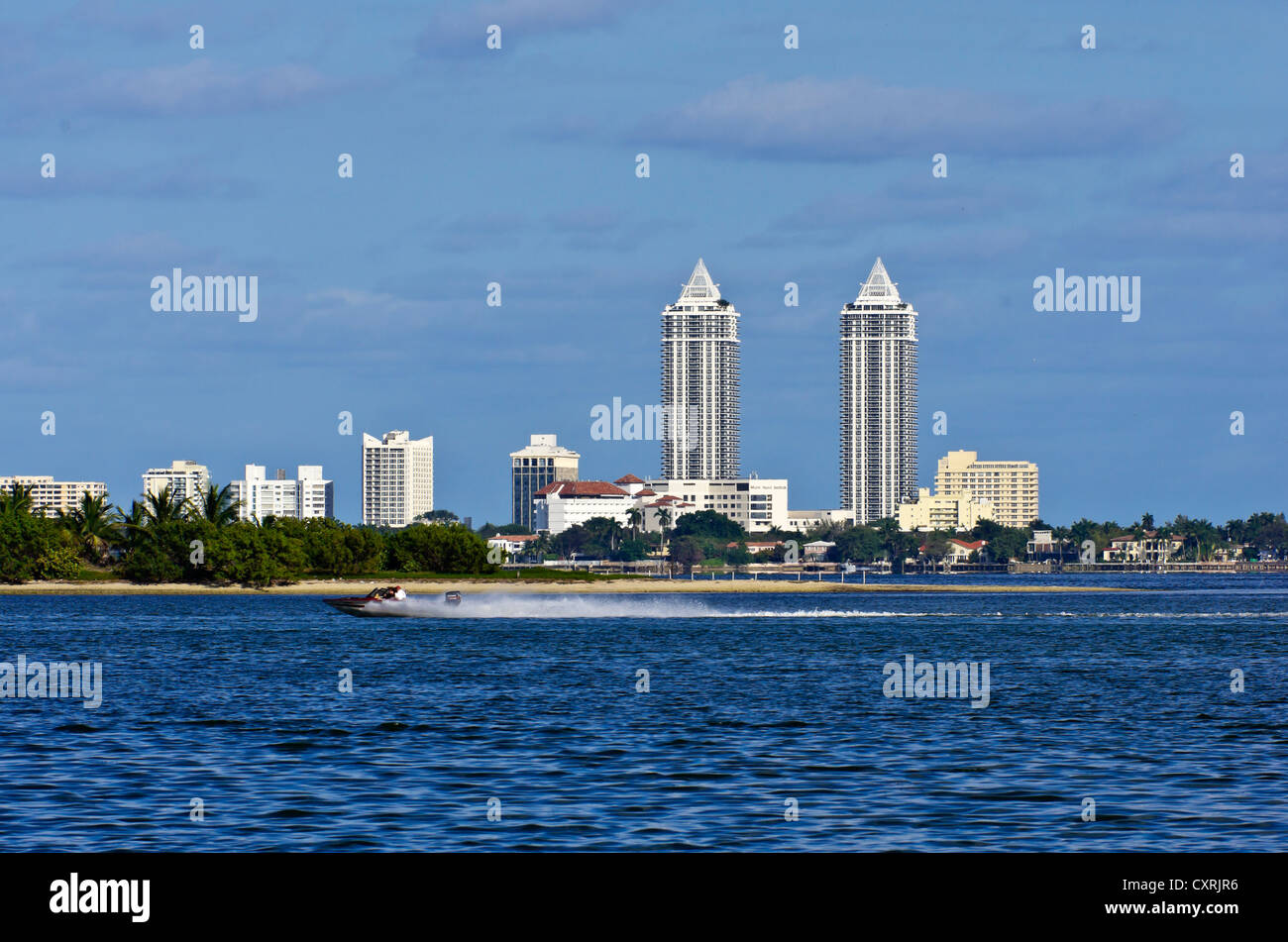 Skyline at the Mount Sinai Medical Center from Morningside Park with motorboat, Miami, Florida, USA - Stock Image