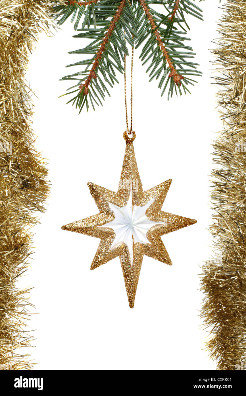 Gold Christmas Star Decoration Surrounded By Tinsel Hanging