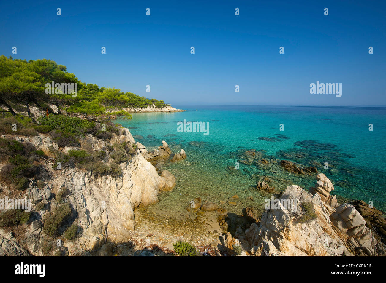 Coast, Kavourotypes Beach on Sithonia peninsula, Halkidiki, Greece, Europe Stock Photo