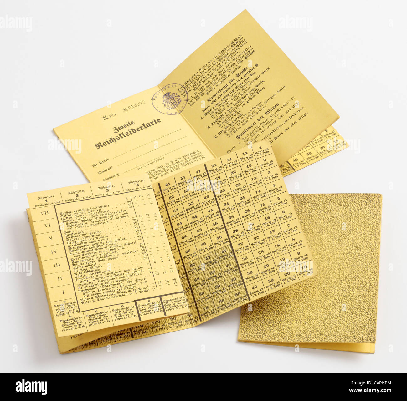 False Blank German Clothing Ration Books dropped by the British over Germany during WW2. - Stock Image